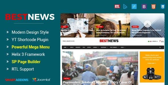 BestNews - Ultimate Drag & Drop News & Magazine Joomla Template