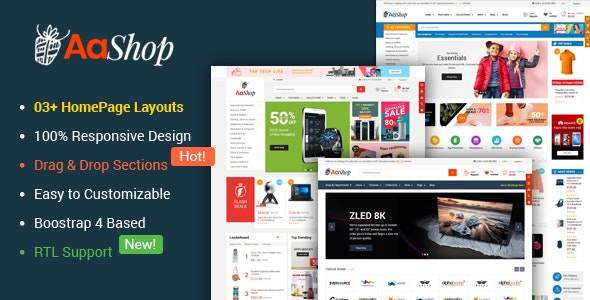 AaShop - Responsive & Multipurpose Sectioned Bootstrap 4 Shopify Theme - Shopify eCommerce