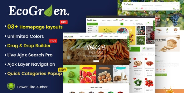 EcoGreen - Multipurpose Organic, Fruit, Vegetables Shopify Responsive Theme - Shopify eCommerce