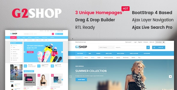 G2Shop - Responsive & Multipurpose Sectioned Bootstrap 4 Shopify Theme - Shopify eCommerce