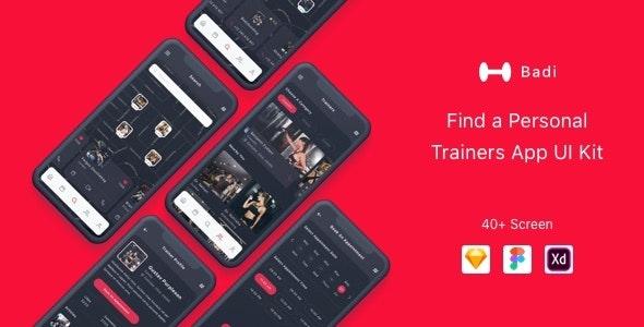 Badi - Find a Personal Trainers App UI Kit - Creative Sketch