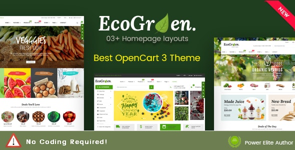 EcoGreen - Multipurpose Responsive OpenCart 3 Theme With Mobile Layouts (Organic Food Topic) - OpenCart eCommerce