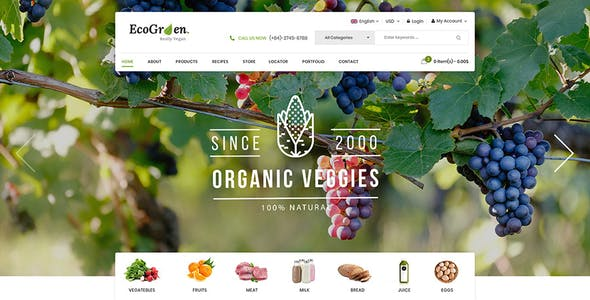 EcoGreen - Multipurpose Responsive OpenCart 3 Theme With Mobile Layouts (Organic Food Topic)