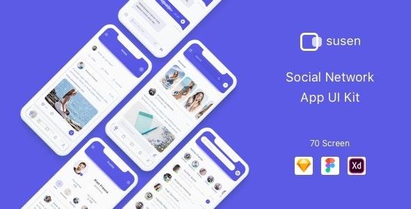 Susen - Social Network App UI Kit - Sketch UI Templates