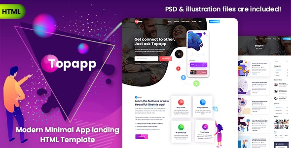 Topapp - App Landing Page - Technology Site Templates