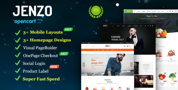 Jenzo - Drag & Drop Multipurpose OpenCart Theme with Mobile-Specific Layouts