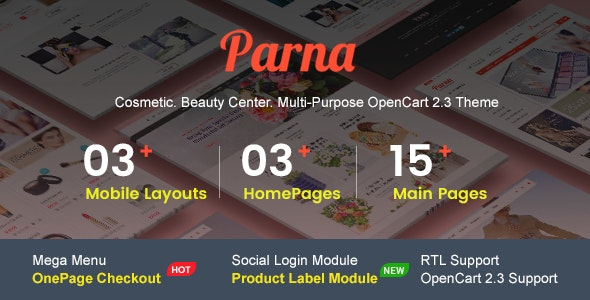 Parna - Multipurpose Responsive OpenCart 2.3 Theme | Cosmetic | Beauty Center | Fashion Store - Health & Beauty OpenCart
