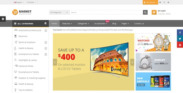Market - Premium Responsive OpenCart Theme with Mobile-Specific Layout (12 HomePages)