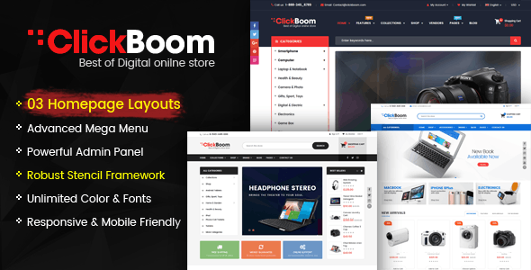 ClickBoom - Responsive StenCil BigCommerce Theme with Advanced Option - BigCommerce eCommerce