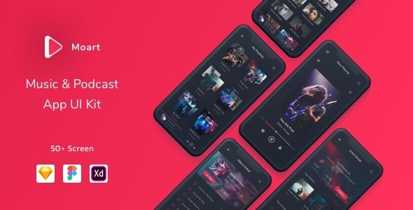 Moart - Music and Podcast App UI Kit - Sketch UI Templates