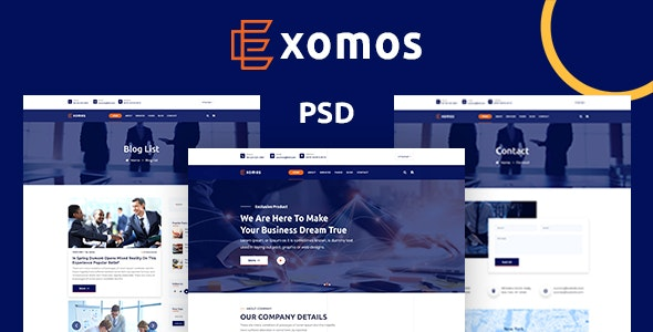 Exomos - Business PSD Template - Business Corporate