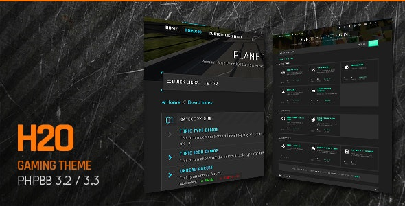 H2O - Action / Gaming Responsive phpBB 3.3 Theme - PhpBB Forums
