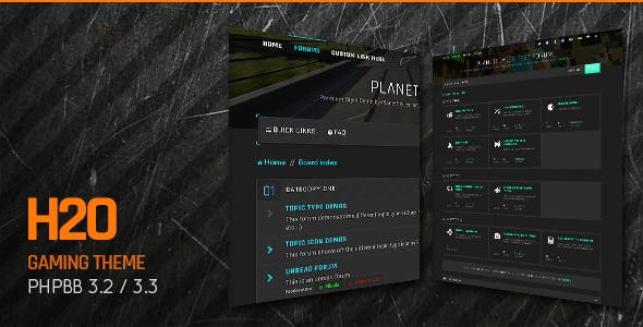 H2O - Action / Gaming Responsive phpBB 3.3 Theme