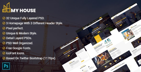 Myhouse - Construction PSD Template - Creative PSD Templates