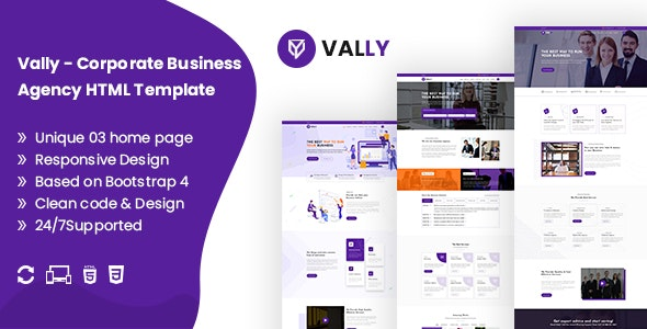 Vally - Corporate Business Agency HTML5 Template - Business Corporate