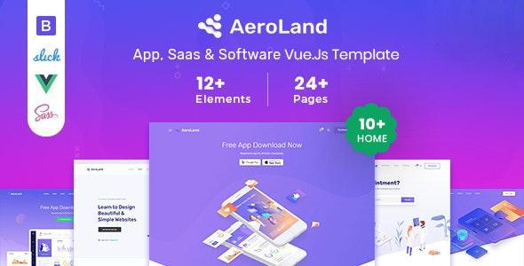 Aeroland Vue JS App & Saas Landing Page Template
