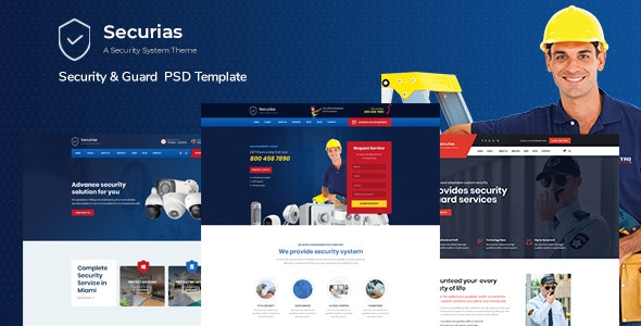 Secrius - Security Services  Multipurpose PSD Template - Technology Photoshop