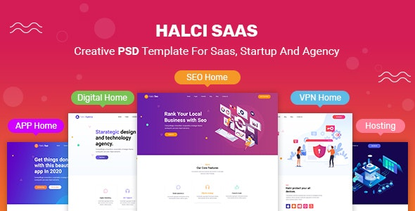 HalciSaas - Creative PSD Template for Saas, Startup & Agency - Technology PSD Templates