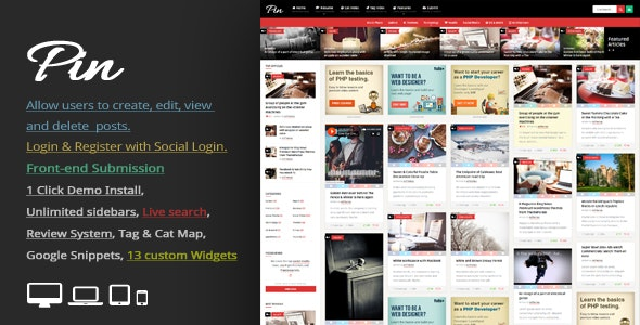 Pin = Pinterest Style / Personal Masonry Blog / Front-end Submission - Personal Blog / Magazine