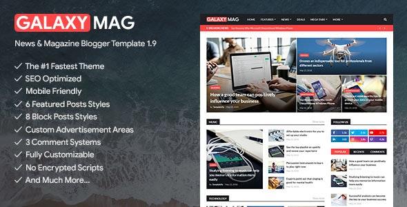 GalaxyMag - Responsive News & Magazine Blogger Template - Blogger Blogging