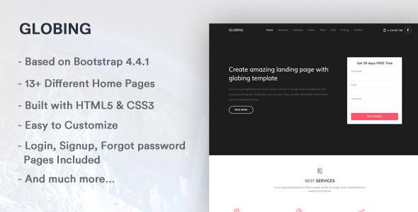 Globing - Landing Page Template - Landing Pages Marketing