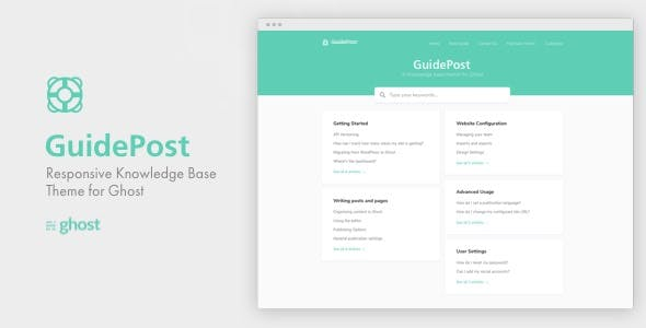 GuidePost - A Responsive Knowledge Base Theme for Ghost