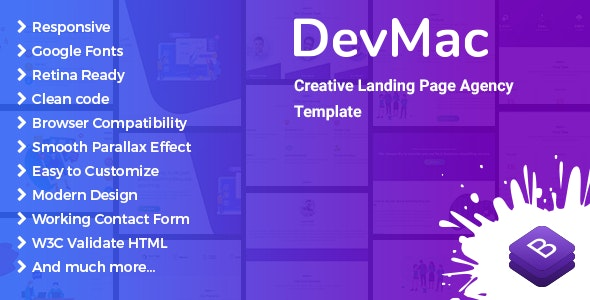 DevMac - Creative Landing Page Agency Template - Marketing Corporate