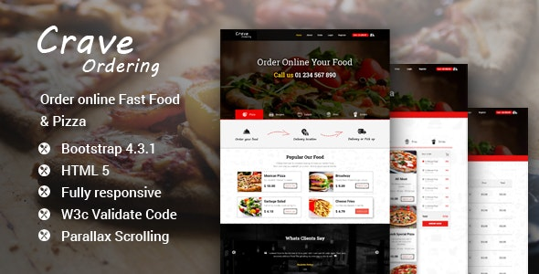 Crave Ordering – Order Online Fast Food & Pizza Template - Food Retail