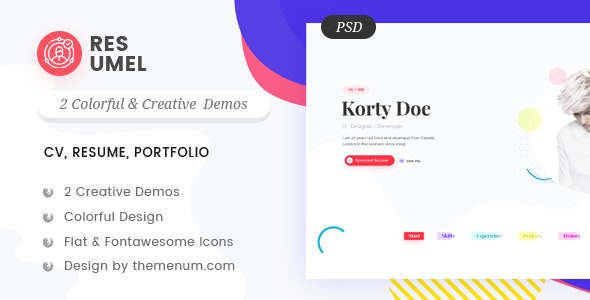 Resumel Creative Cv Resume And Portfolio Psd Template By