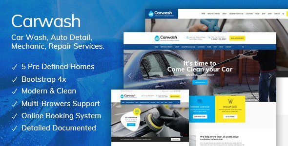 Car Wash - Auto Detail, Mechanic & Repair Services HTML5 Template - Business Corporate