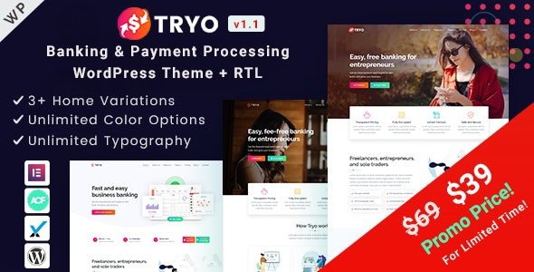 Tryo - Banking & Payment WordPress Theme - Business Corporate