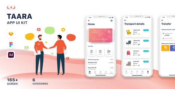 Taara Mobile Application UI Kit - Sketch UI Templates
