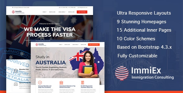 ImmiEx - Immigration and Visa Consulting Website Template - Business Corporate