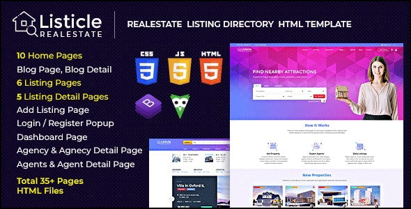 Listicle - RealEstate Listing HTML Template - Business Corporate