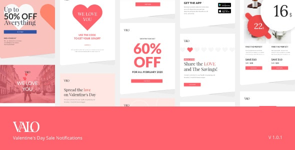 Valo - Valentine's Day Sale Notifications - Email Templates Marketing