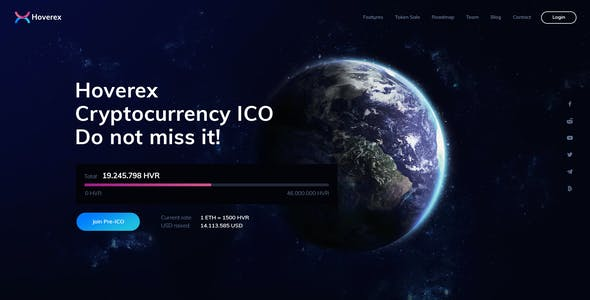 Hoverex | Cryptocurrency & ICO PSD Template