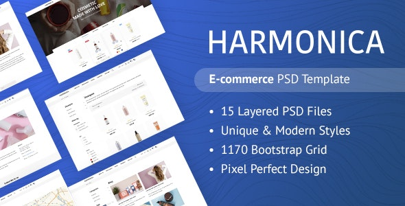 Harmonica - Responsive eCommerce PSD Template - Health & Beauty Retail