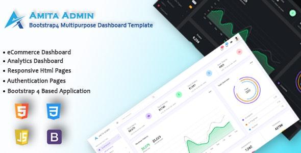 Amita - Bootstrap 4 Multipurpose Admin Dashboard Template - Admin Templates Site Templates