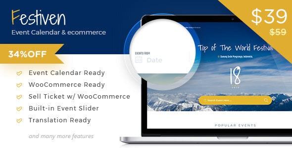 Festiven - Event Calendar & WooCommerce Themes - WooCommerce eCommerce