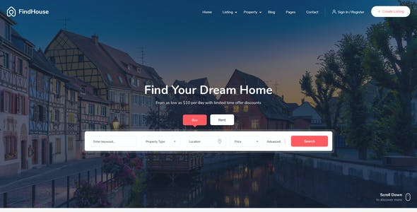 FindHouse - Real Estate PSD Template