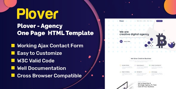 Plover - Agency One Page HTML Template - Business Corporate