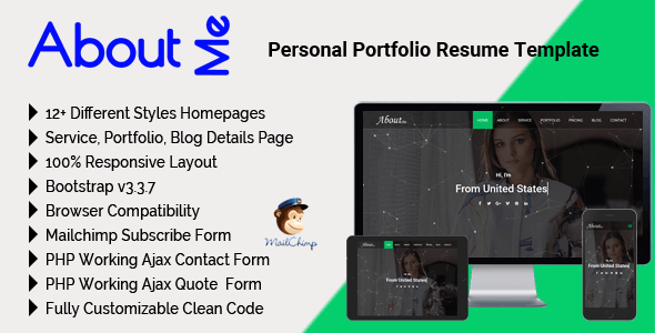 AboutMe - Personal Portfolio Resume Template by mgscoder