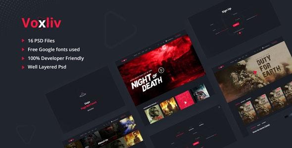 Voxliv - Video On Demand PSD Template - Entertainment PSD Templates