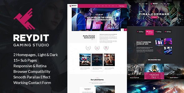Reydit - Gaming Studio HTML Template - Technology Site Templates