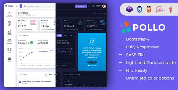 Pollo - Clean & Minimal Bootstrap Admin Dashboard Template - Admin Templates Site Templates