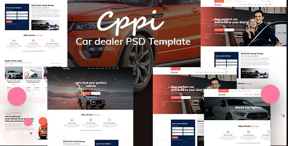 Carrpi - Car Dealer & Car Booking  PSD Template - Business Corporate