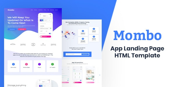 Mombo - App Landing Page HTML Template - Technology Site Templates