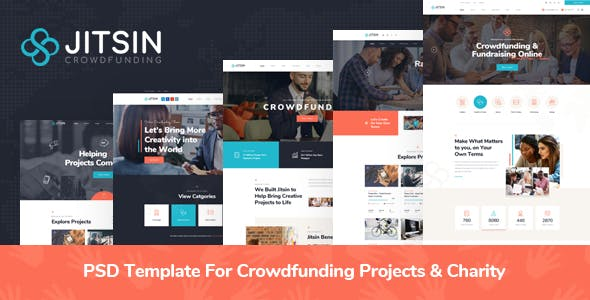 Jitsin - PSD Template For Crowdfunding Projects & Charity