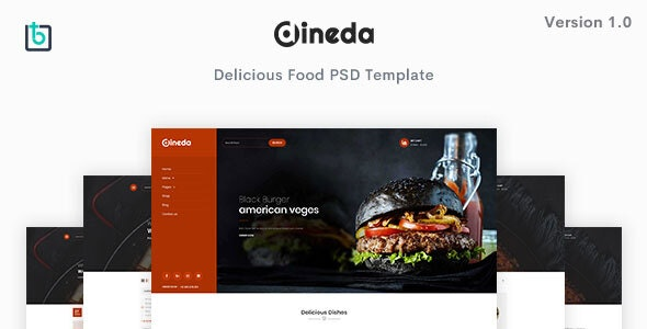 Dineda - Delicious Food PSD Template - Food Retail