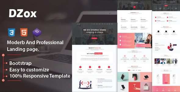 Dzox - Responsive Multipurpose Business Template - Corporate Landing Pages